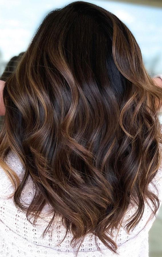 63 Charming hair colour ideas & hairstyles : Lighter gloss on dark hair