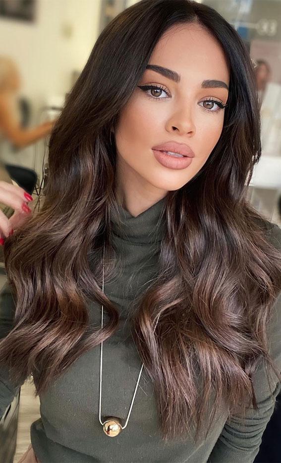 63 Charming hair colour ideas & hairstyles : Silky dark chocolate hair colour