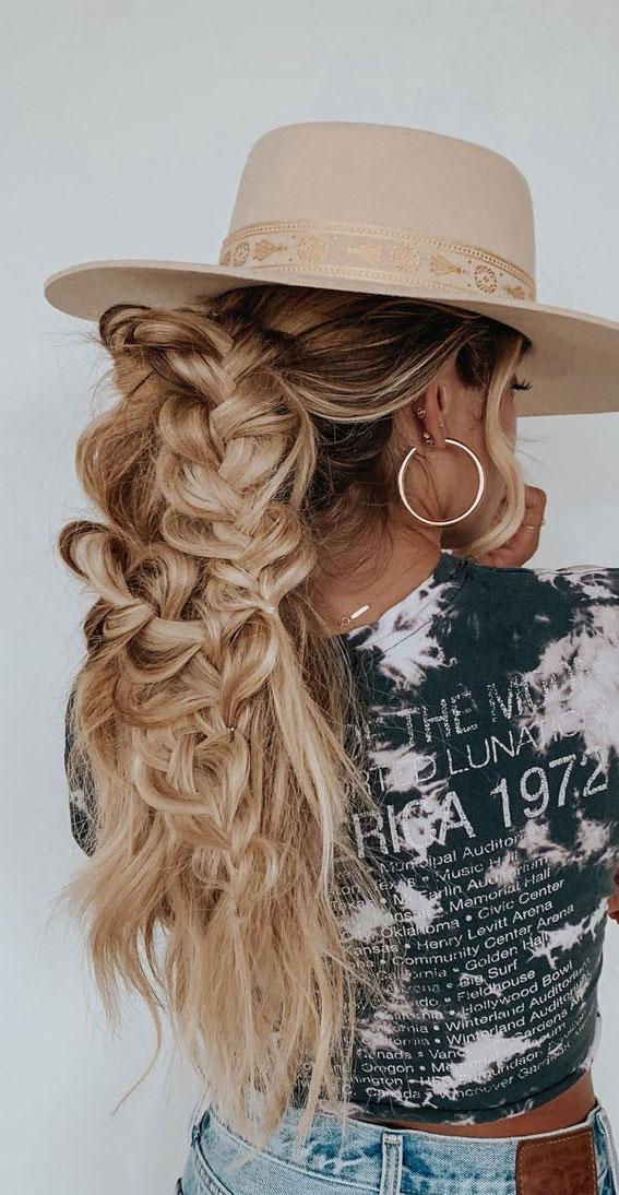 Cute braided hairstyles to rock this season : Messy Braid Power Pony