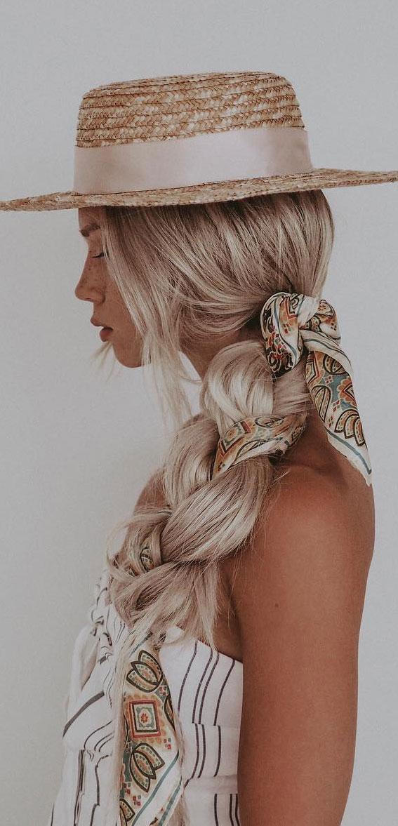 Cute braided hairstyles to rock this season : Chunky braid with hair scarf