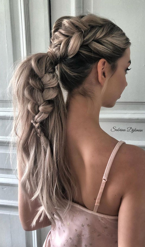 Cute braided hairstyles to rock this season : Chunky Braided Ponytail