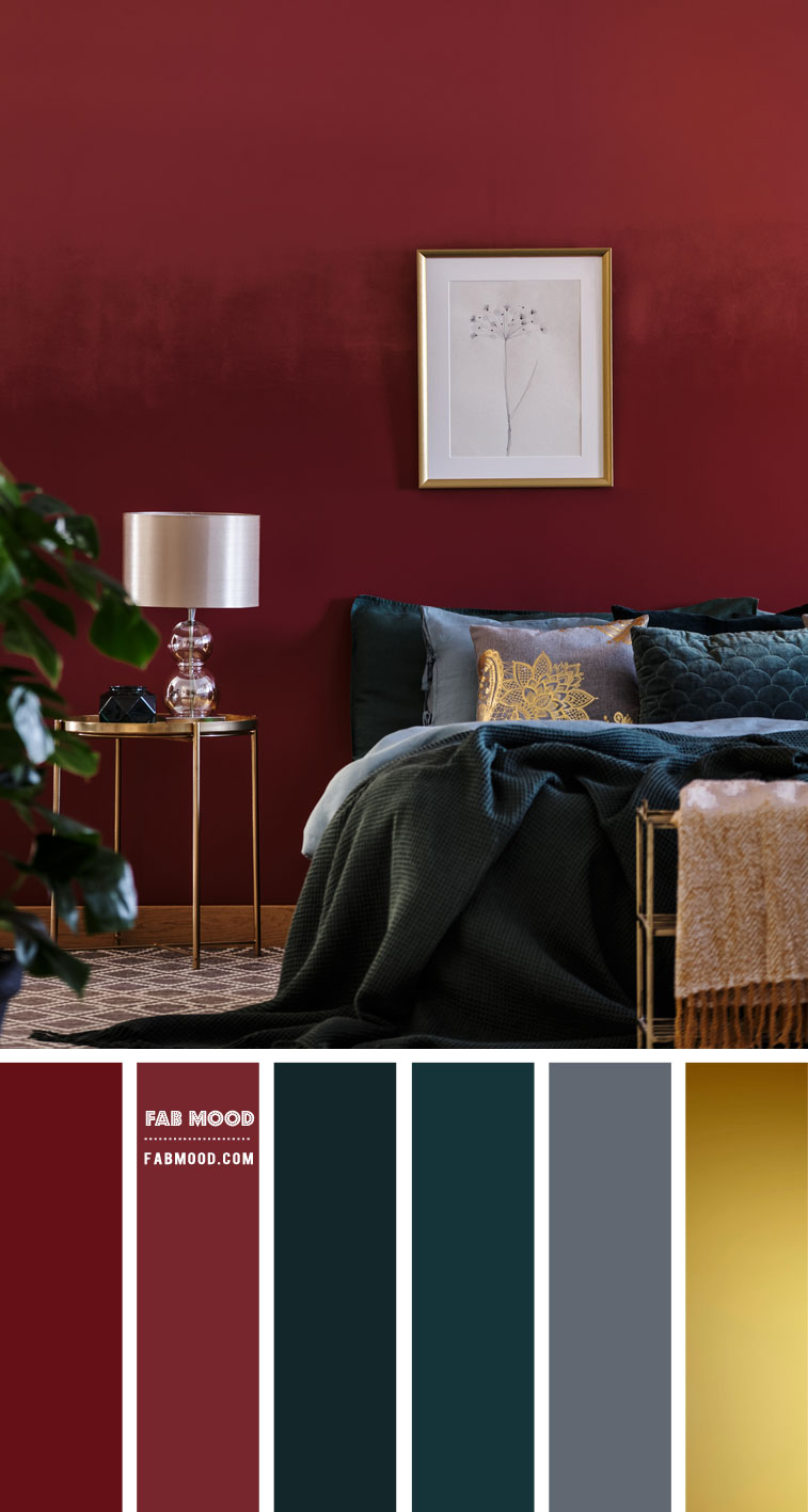burgundy and dark grey bedroom, burgundy and dark teal color scheme, burgundy and teal bedroom color combo, dark teal and burgundy bedroom #bedroom #colorpalette