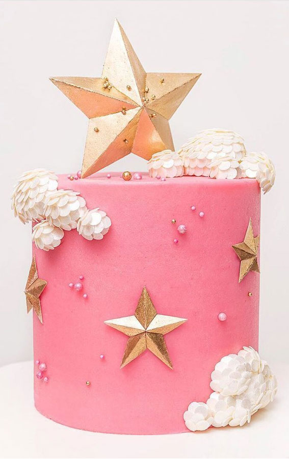 Pretty Cake Decorating Designs We've Bookmarked : Cloud & Star on Pink Cake