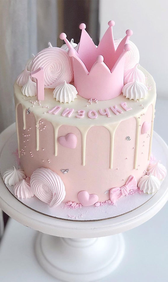 Pretty Cake Decorating Designs We've Bookmarked : Pink Princess Crown for 1st birthday