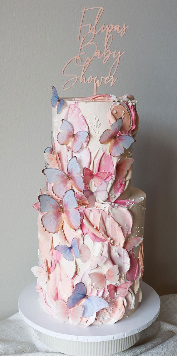 Pretty Cake Decorating Designs We've Bookmarked : Butterfly baby shower cake