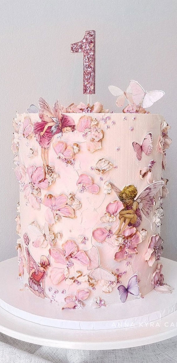 Pretty Cake Decorating Designs We've Bookmarked : Butterfly & Fairy 1st Birthday Cake