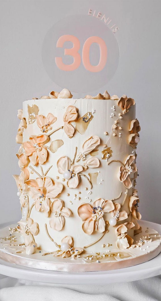 Pretty Cake Decorating Designs We've Bookmarked : Peachy cake for 30th birthday