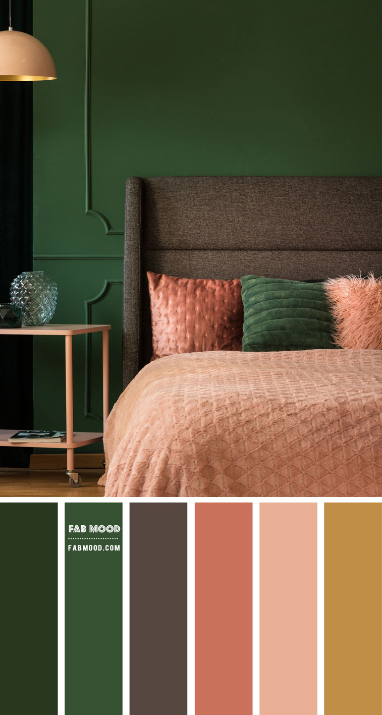 Emerald Green and Peach Bedroom