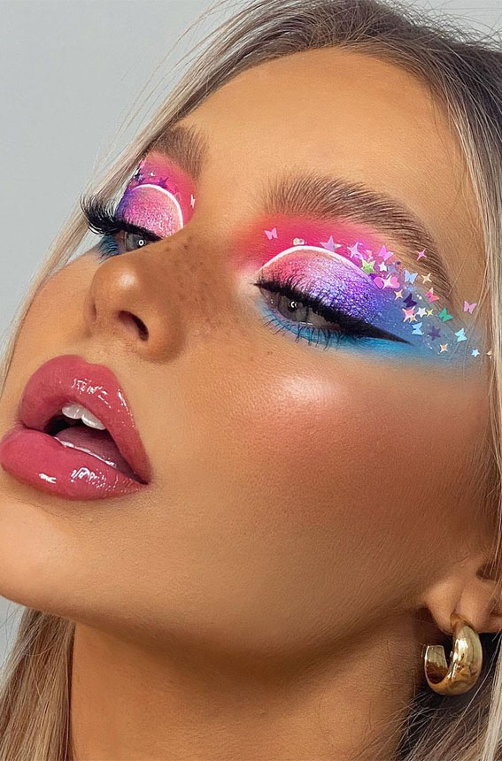 Latest Eye Makeup Trends You Should Try In 2021 : Colourful eyeshadow & butterfly