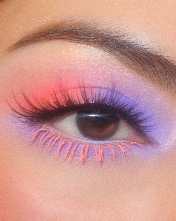 Latest Eye Makeup Trends You Should Try In 2021 : Lilac & orange two toned looks
