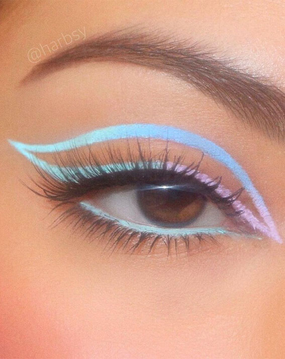 Latest Eye Makeup Trends You Should Try In 2021 : Ombre Lavender and Light Blue
