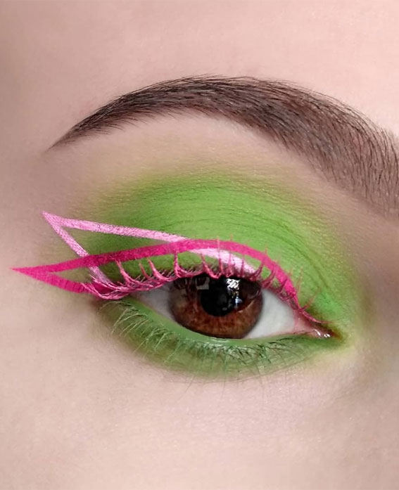 Latest Eye Makeup Trends You Should Try In 2021 : Bright Green & Pink Graphic Lines