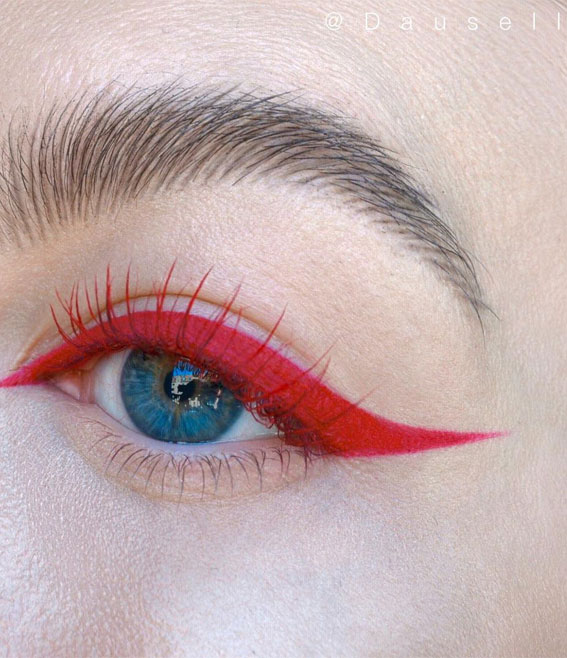 Latest Eye Makeup Trends You Should Try In 2021 : Red Eyeshadow Look