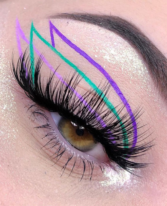 Latest Eye Makeup Trends You Should Try In 2021 : Bright Green & Shades of Purple Graphic Look