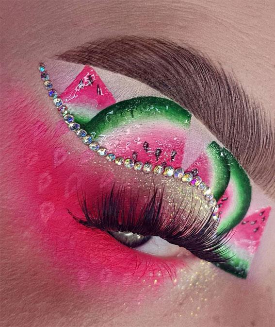 Creative Eye Makeup Art Ideas You Should Try : Watermelon and rhinestone makeup look