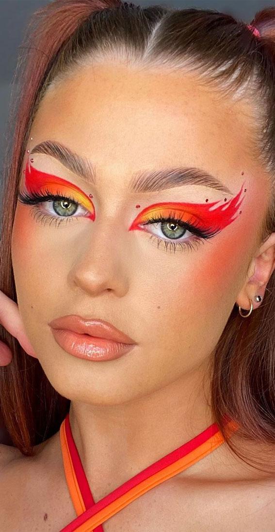 Creative Eye Makeup Art Ideas You Should Try : Hot Flame