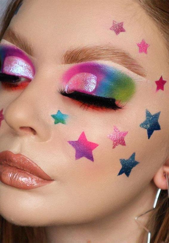 Creative Eye Makeup Art Ideas You Should Try : Colourful rainbow & Star Eye Makeup Art