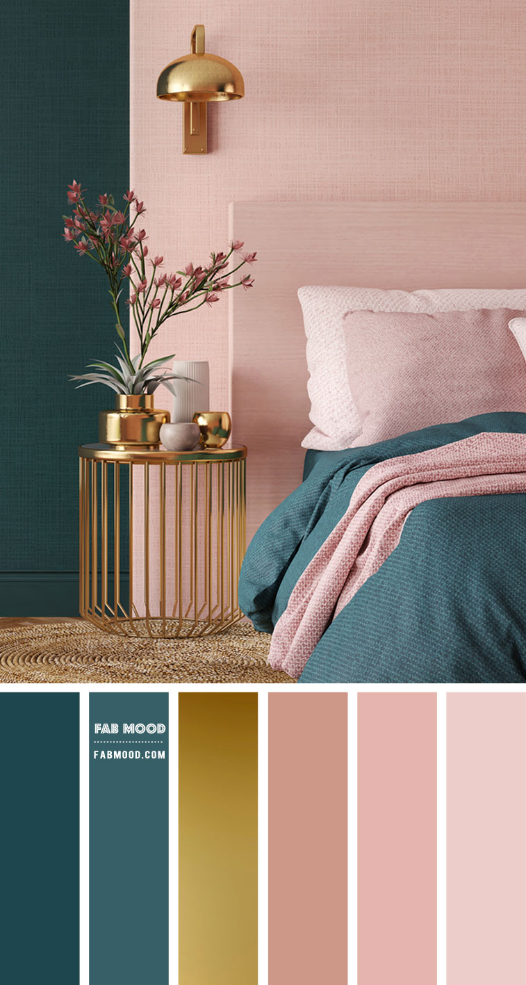 Peach And Teal Bedroom With Gold Accessories Salmon Pink Bedroom