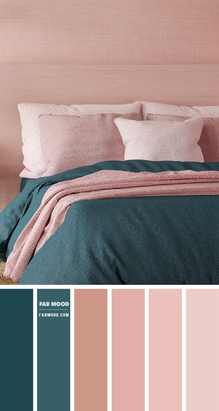 Green Teal and Peach Bedroom