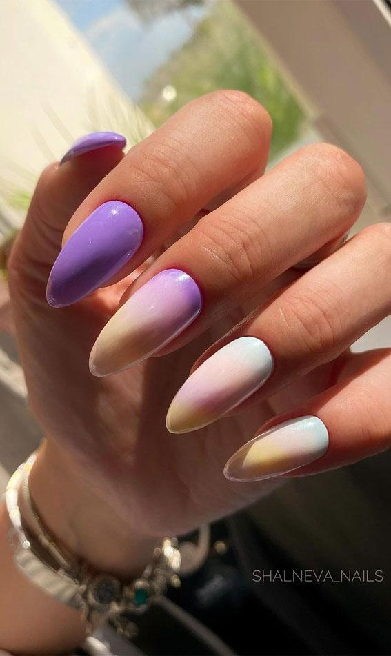 cute summer nail art designs, acrylic nail designs for summer, colorful nail colors, bright nail colors, summer nail art designs 2021, ombre nail colors, nail art designs 2021 #nailart #nailart2021