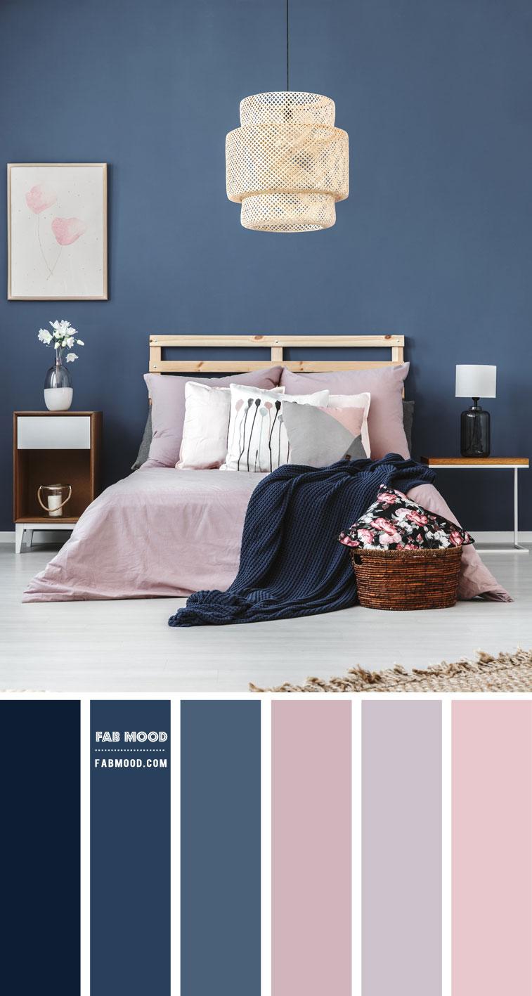 Blush Mauve and Blue Grey Bedroom Colour Scheme