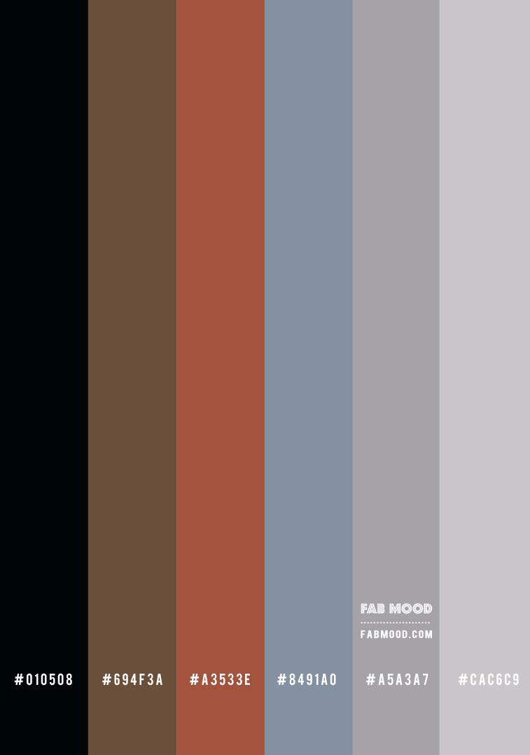 gradient color palette, brick color, blue to grey gradient, terracotta ombre