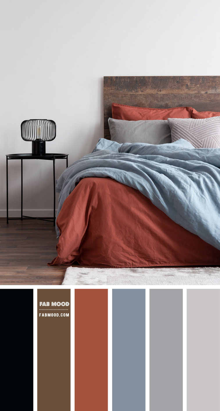 Brick Red and Dusty Blue Bedroom Color Scheme