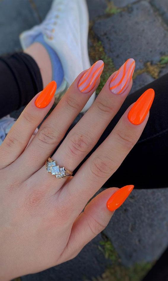 orange nail designs 2021, bright orange nail designs, abstract orange nail designs, orange nail ideas, orange nails with waves, orange nails 2021, orange acrylic nails