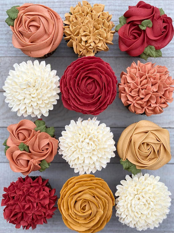 Sweet Treat Cupcake Ideas For Any Celebration : Fall inspired floral garden