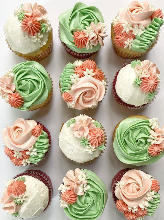 Sweet Treat Cupcake Ideas For Any Celebration : Green and Peach Buttercream Cupcakes