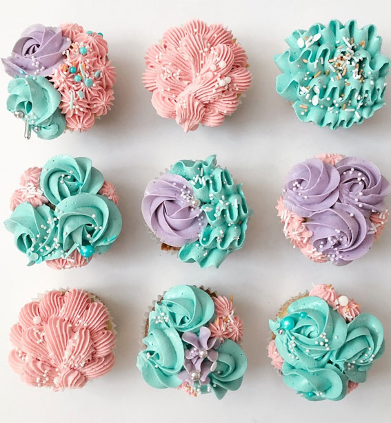 Sweet Treat Cupcake Ideas For Any Celebration : Unicorn Color Buttercream Cupcakes
