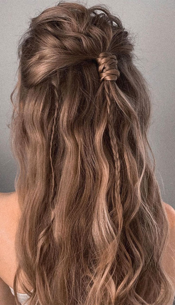 Half Up Half Down Hairstyles For Any Occasion : Simple Half Up with Tiny Modern Braid