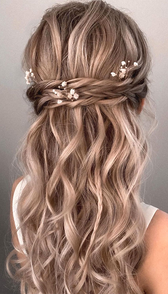 Half Up Half Down Hairstyles For Any Occasion : Braids, Textured half ups with Baby's breath