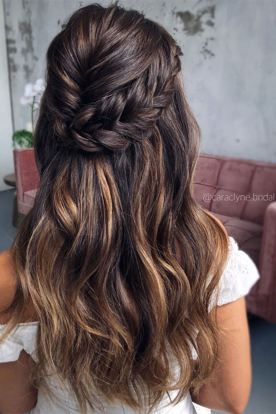 Half Up Half Down Hairstyles For Any Occasion : Inverted & Chunky braid half up