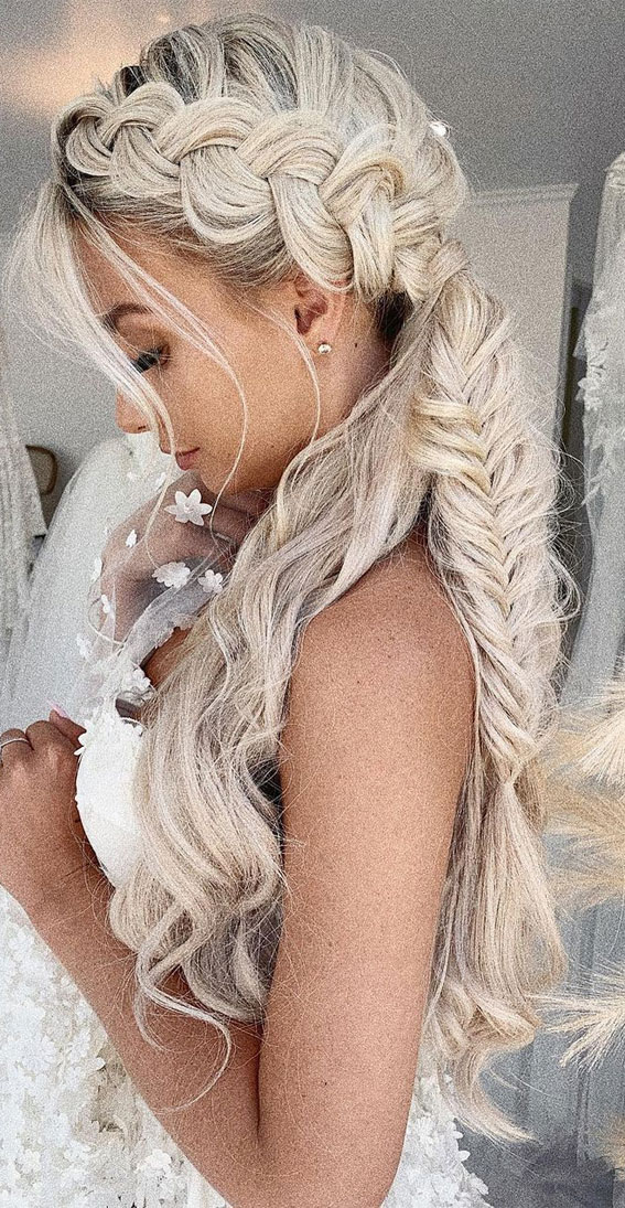 Half Up Half Down Hairstyles For Any Occasion : Chunky braid crown half up & fish tail