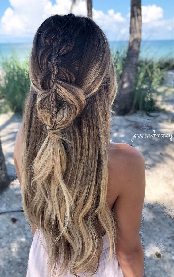 Half Up Half Down Hairstyles For Any Occasion : Beach Vibes, Texture & Braids half ups
