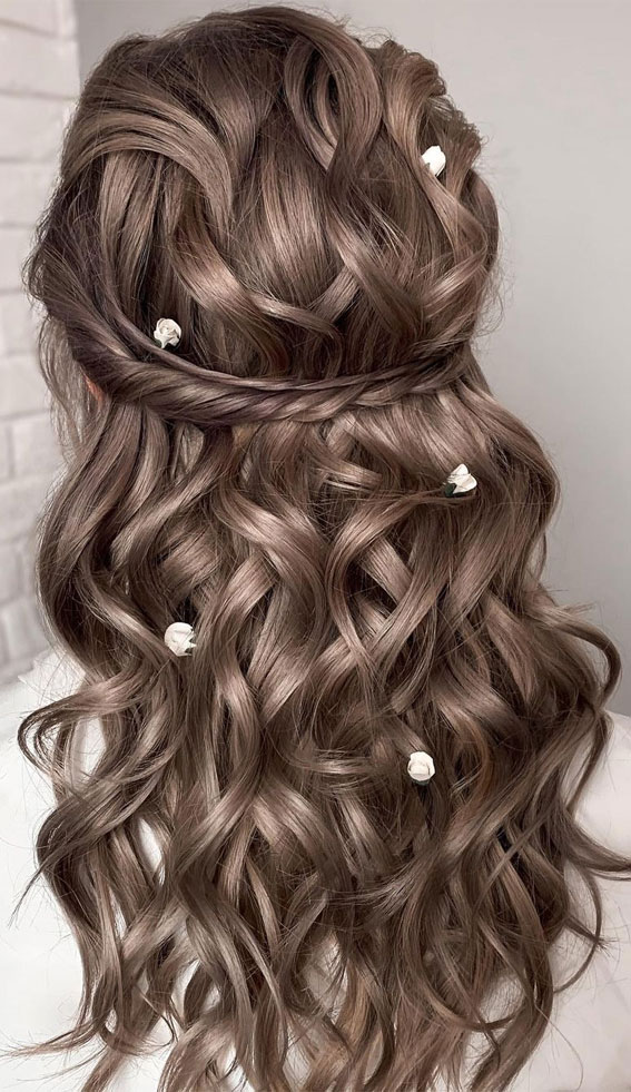 Half Up Half Down Hairstyles For Any Occasion : Volume Textured half ups with tiny flowers