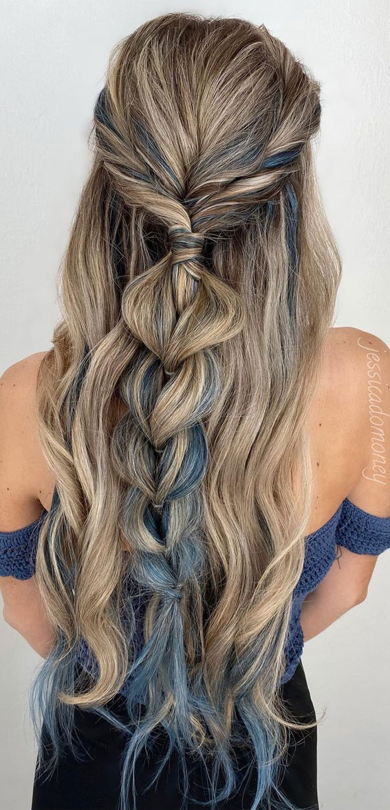 Half Up Half Down Hairstyles For Any Occasion : Blue Braid Half Up