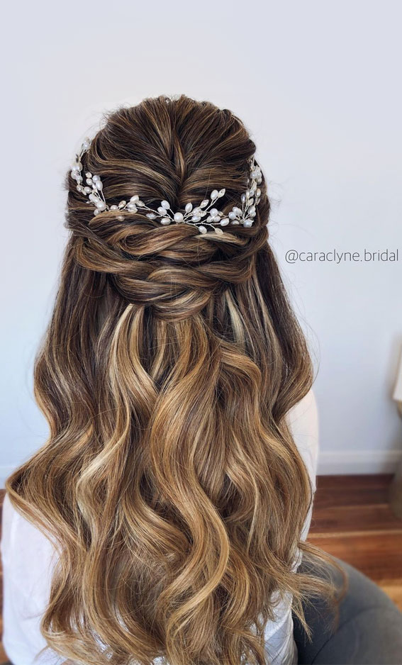 Half Up Half Down Hairstyles For Any Occasion : Textured half ups with pearl hair accessories