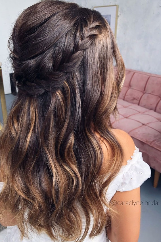 Half Up Half Down Hairstyles For Any Occasion : Puff & crown braided half up