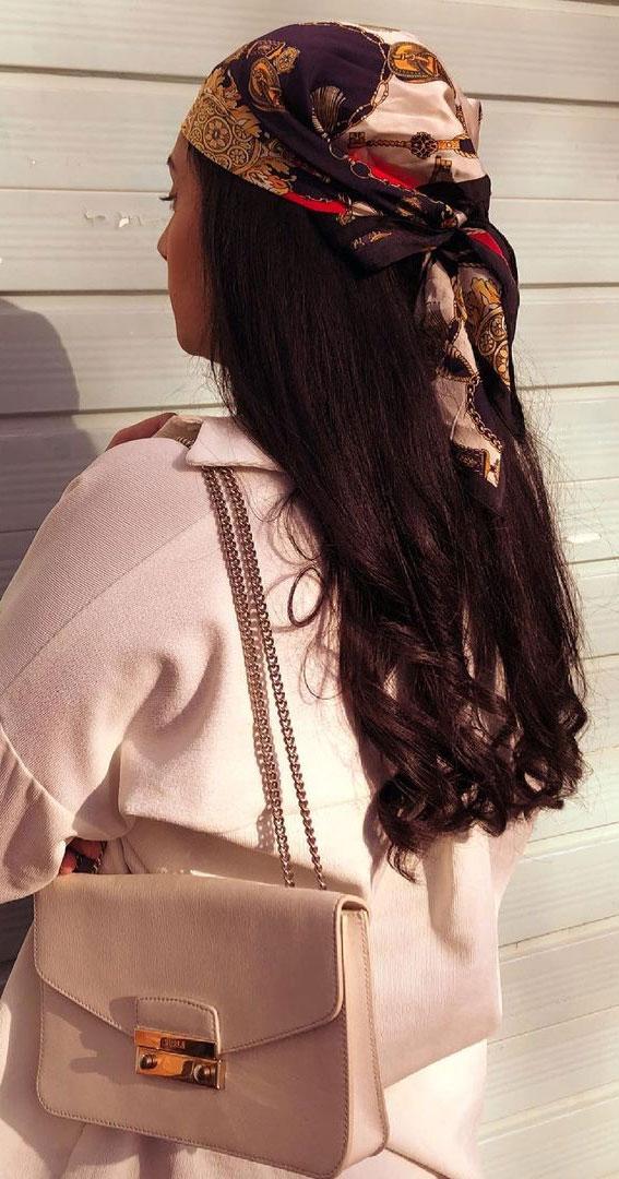 39 Trendy ways to wear a head scarf : Head Scarf For Long Hair