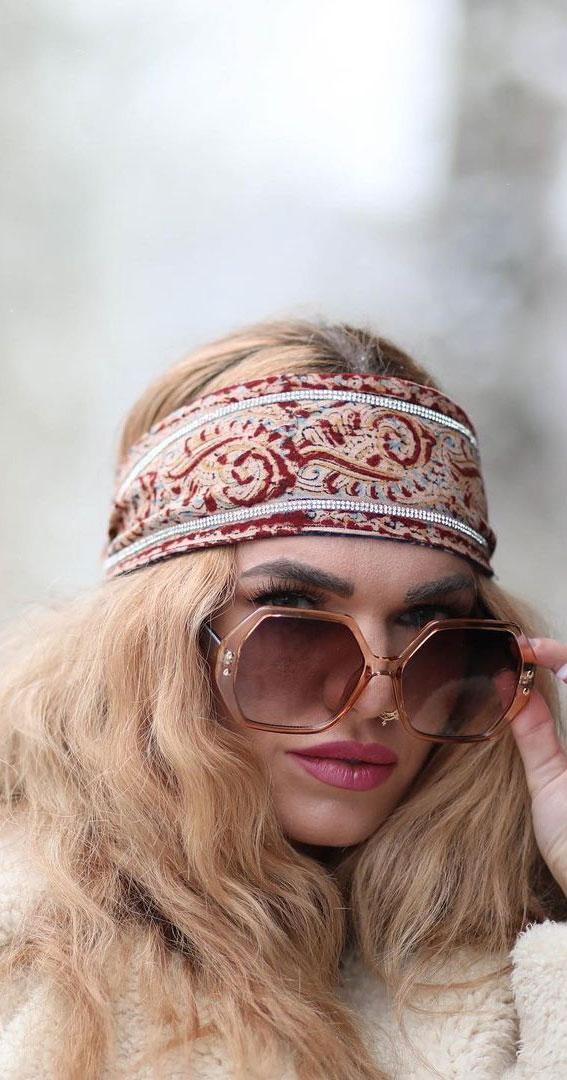 39 Trendy ways to wear a head scarf : 70s Hippie Girl