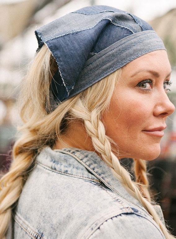 39 Trendy ways to wear a head scarf : Blue Denim Head Scarf