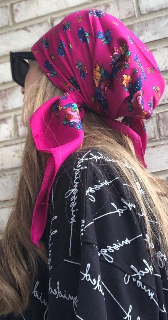 39 Trendy ways to wear a head scarf : Magenta Head Scarf