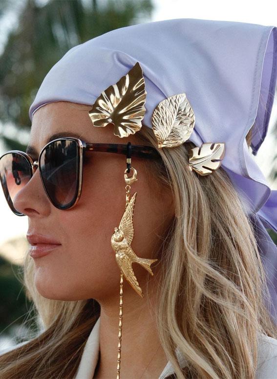 39 Trendy ways to wear a head scarf : Cadillac Bird Chain, Lilac Satin Headscarf