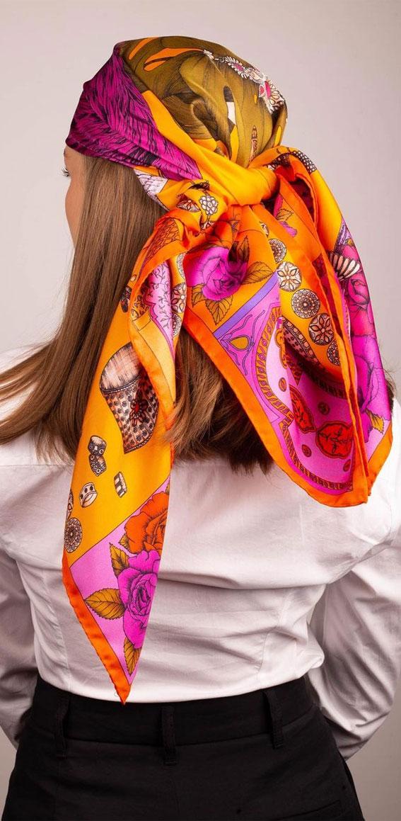 39 Trendy ways to wear a head scarf : Hot Pink and Orange Head Scarf