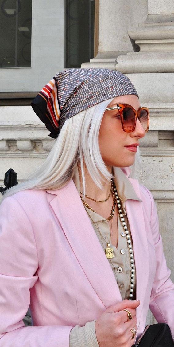 39 Trendy ways to wear a head scarf : Pretty Head Scarf & Outfit