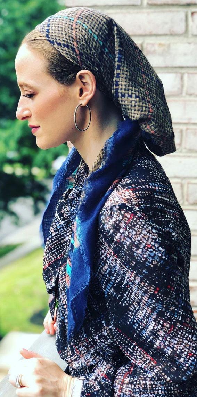39 Trendy ways to wear a head scarf : Dark Blue Cotton Head Scarf