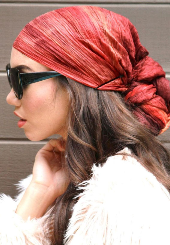 39 Trendy ways to wear a head scarf : Rustic Red Watercolor Scarf