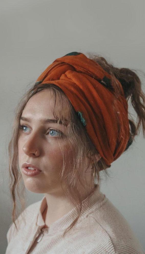 39 Trendy ways to wear a head scarf : Burnt Orange Head Scarf & Trendy Messy Hair